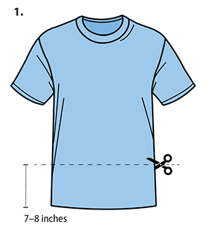 T-Shirt Mask Instructions 1 - Removing the bottom 7 to 8 inches of a T-Shirt